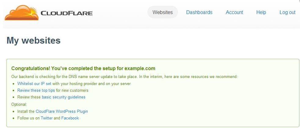 موفقیت آمیز بودن نصب Cloudflare