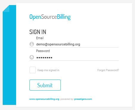 صفحه ورود به OpenSourceBilling