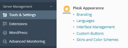 تنظیمات Plesk Appearance در پلسک